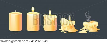 Burning Candles Flame Set. Cartoon Burning Yellow Wax Candles On The Different Stages Of Burning Fro