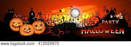 Vector Halloween Illustration With Pumpkins Head, Sinister Castle, Cemetery, Bats And Text On Nightl