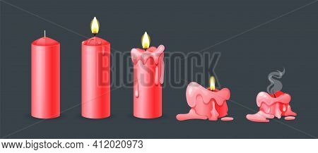 Burning Candles Flame Set. Cartoon Burning Red Wax Candles On The Different Stages Of Burning From A