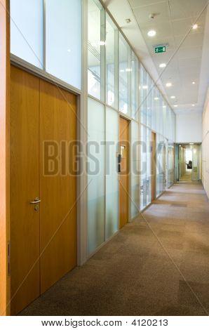 Empty Corridor With Set Of Doors