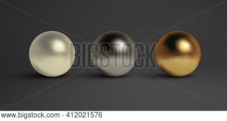Abstract Metal Balls Set. Pearl, Black Metal, Brass, Silver. Vector Golden Sphere Isolated Object On