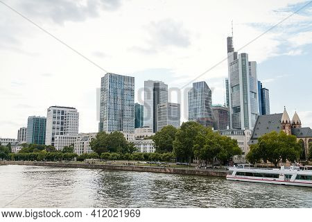Beautiful View Of Modern Skyscrapers At The Financial District Alongside River Main, Skyline In Down