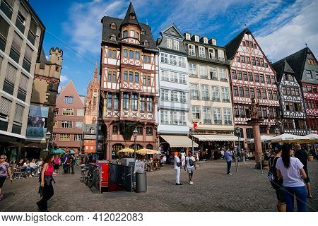 Colourful Half-timbered Houses Of Romer Square, Old Town Square Romerberg, Altstadt, Timber Framed H