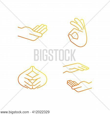 Hand Gestures Gradient Linear Vector Icons Set. Okay Gesture. Steeple Hand. Two Hands Holding Someth
