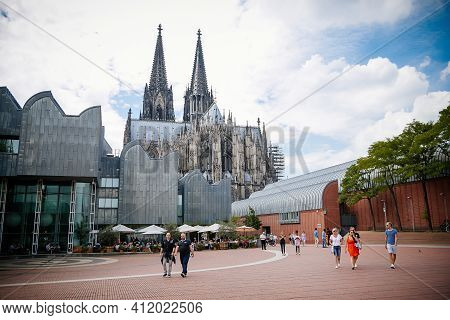 Museum Ludwig With Large Collection Of Modern Art And Cologne Cathedral, Kolner Dom, Roman Catholic