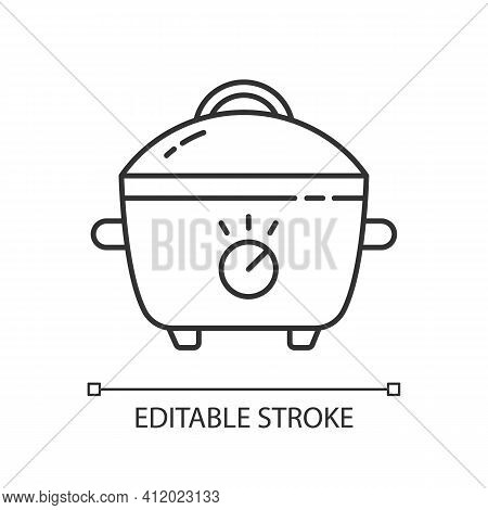 Slow Cooker Linear Icon. Porcelain Crock Pot. Food Preparation. Small Kitchen Appliance. Thin Line C