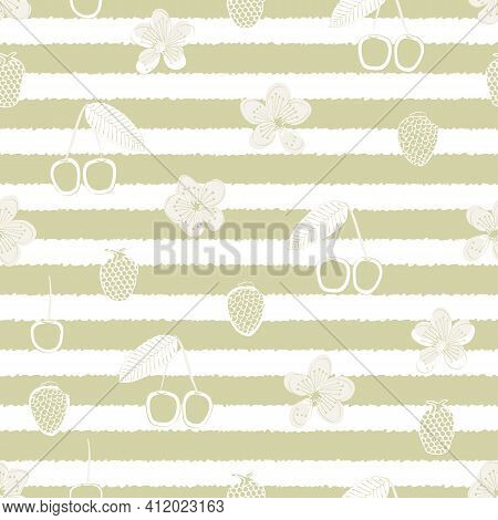 Vector Cherries, Berries, And Blooms On Gold White Striped Background Seamless Repeat Pattern. Backg