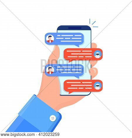 Chatbot Concept. Woman Chatting With Chat Bot On Smartphone. Chat Messages Notification On Smartphon