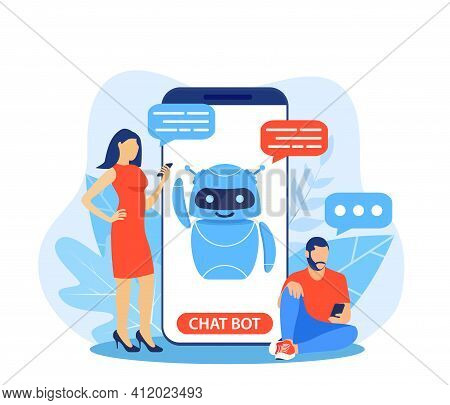 Chatbot Ai And Customer Service Concept. People Talking With Chat Bot In A Big Smartphone Screen. Ai