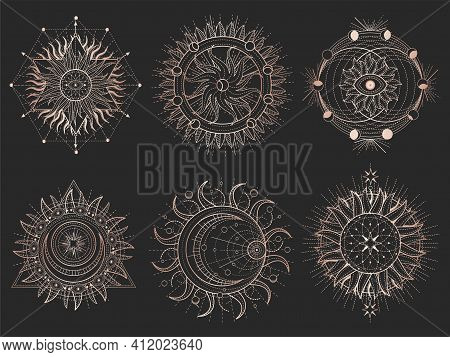 Vector Set Of Sacred Symbols And Geometry Figures On Black Background. Gold Abstract Signs. For You