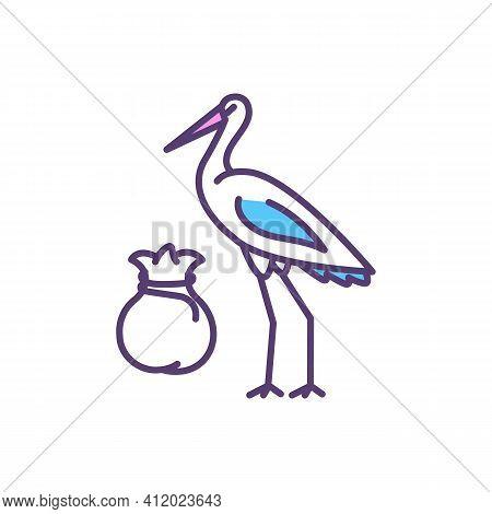 Stork Bringing Baby Rgb Color Icon. Birth And New Life Symbol. Childbirth. Newborn Babies. Age-appro