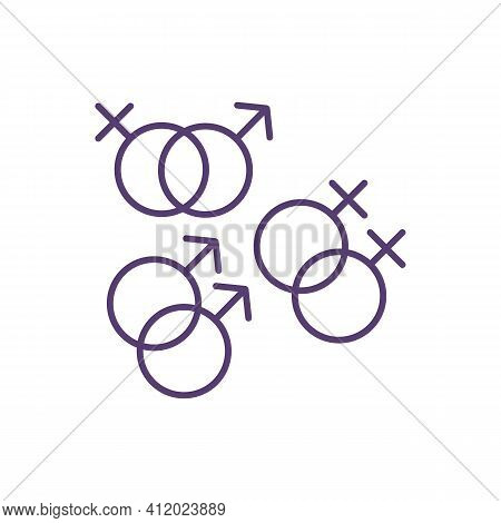 Sexual Orientation Rgb Color Icon. Heterosexual, Homosexual Relationships. Gay, Lesbian, Straight. A