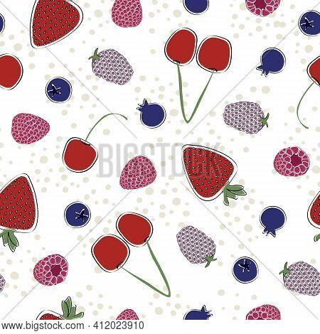 Vector Red Cherries, Strawberries, Rasberries, Blackberries And Blueberries On White Background Seam