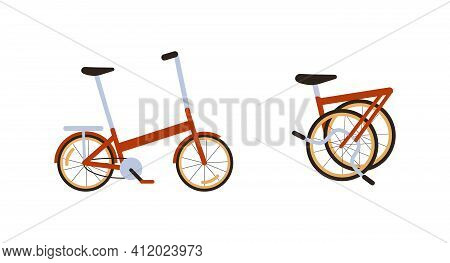 Set Of Red Modern Folding City Bike. Ecological Transport Side View And Fold Up. Commuting By Compac
