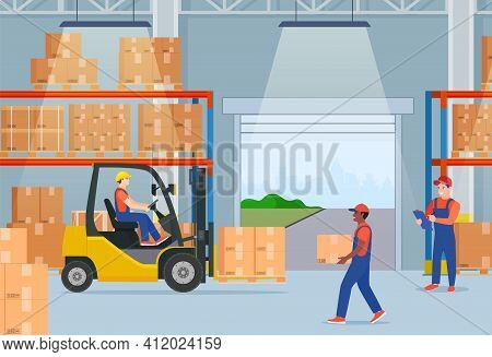 Warehouse Interior With Cardboard Boxes On Metal Racks. Warehouse Interior With Goods, Pallet Trucks