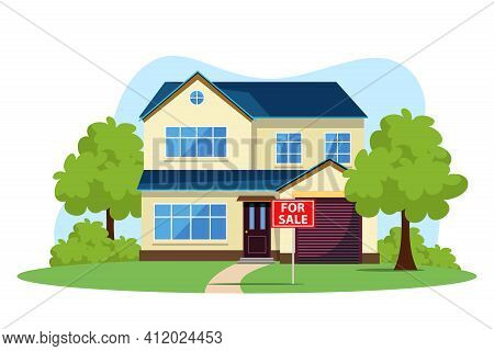 Residential House With Green Garden In Suburb Or City Dormitory Area For Sale Vector. Mansion For Pu