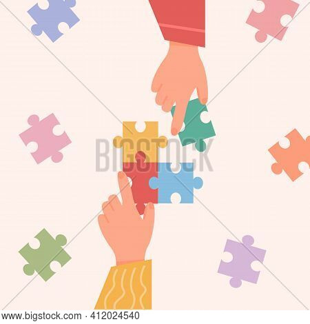People Assembling Jigsaw Puzzle. Concept Of Manual Activity. Friends Pastime. Autistic Kids Playing