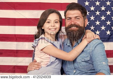 Father American Bearded Hipster And Cute Little Daughter With Usa Flag. Freedom Fundamental Right. I