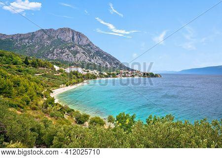 Gradac Village On Makarska Riviera Waterfront View, Dalmatia Region Of Croatia