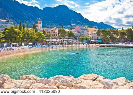Town Of Baska Voda Beach And Waterfront View, Biokovo Mountain, Makarska Riviera In Dalmatia, Croati