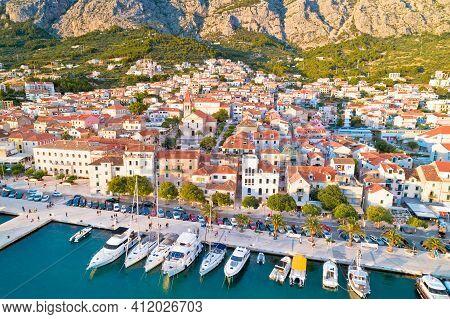 Makarska. Aerial View Of Town Of Makarska Waterfront Riva. Dalmatia Region Of Croatia