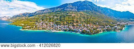 Town Of Breal Beach And Biokovo Mountain Aerial Panoramic View, Makarska Riviera In Dalmatia, Croati