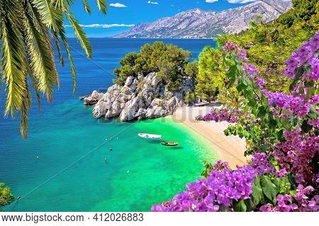 Idyllic Beach Punta Rata In Brela Aerial View, Makarska Riviera Of Dalmatia, Croatia