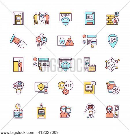 Banking Security Rgb Color Icons Set. Financial Instrument. Sufficient Lighting. Functioning Locked
