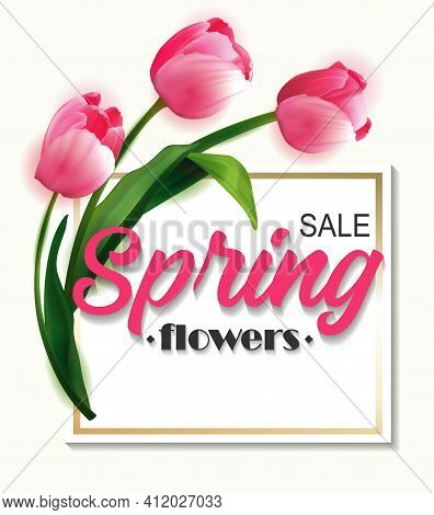 Realistic 3d Spring Sale Script Lettering Web Banner Template. Spring Big Sale Card With Tulips And