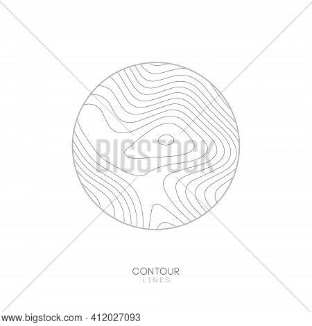 White Topographic Map Circle Logo Concept.topo Map Elevation Lines. Contour Vector Abstract Vector I