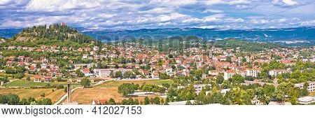 Sinj. Town Of Sinj Panoramic View, Dalmatia Inland Region Of Croatia