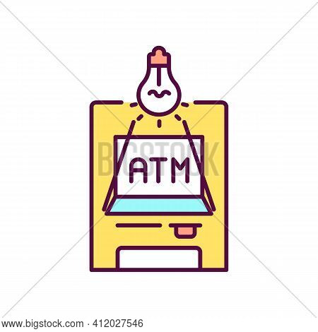 Sufficient Lighting Near Atm Rgb Color Icon. Deter People From Robbing Atm Users. Money Withdrawal.