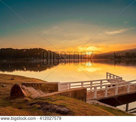 Amazing view of sunrise over Xuan Huong Lake, Dalat, Vietnam