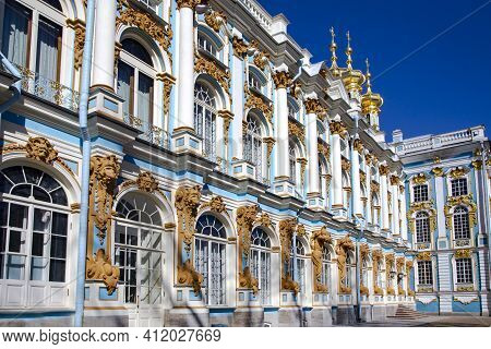Russia, Saint Petersburg, April, 2016 - World-famous Of The Catherine Palace In The Town Of Pushkin