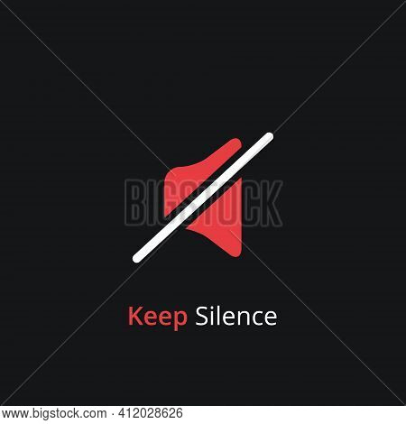 Keep Silence Symbol. Silent Mode Concept. Quiet Please Icon On White Background. Vector