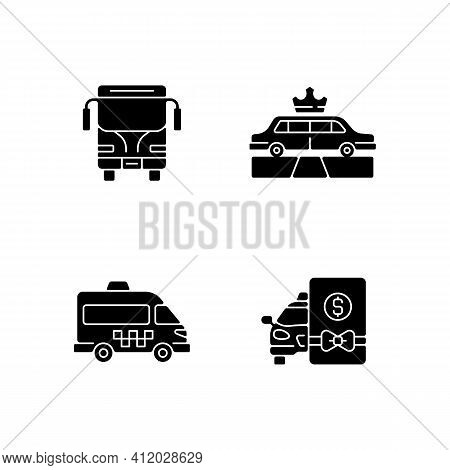 City Public Transport Black Glyph Icons Set On White Space. Easy Movement Around The City. Shuttle B
