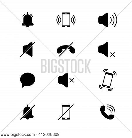 Audio Mobile Phone Icons. Mode Of Noise, Silence, Vibration. Various Sound Signal Signs. Quiet Mode.
