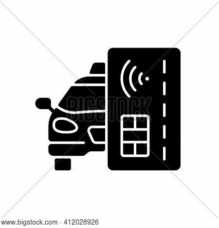 Contactless Payment Black Glyph Icon. Payment Online. Cashless Payment In Taxi. Modern Payment Syste