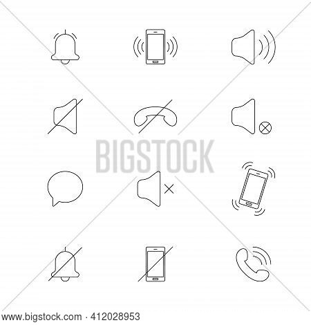 Audio Mobile Phone Line Icons. Quiet Mode. Mode Of Noise, Silence, Vibration. Various Sound Signal S