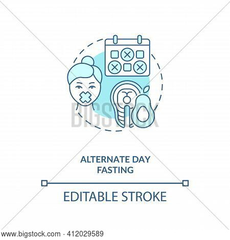 Alternate Day Fasting Blue Concept Icon. Diet Plan. Eating Pattern. Weight Loss. Intermittent Fastin