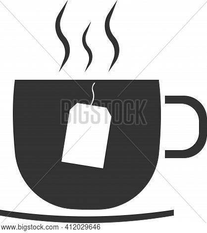 Vector Icon Of A Tea Cup With A Tea Bag.