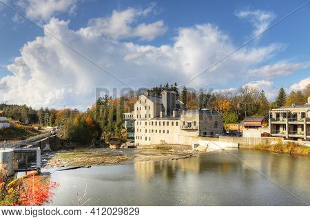 View Of Elora, Ontario, Canada On A Beautiful Fall Day