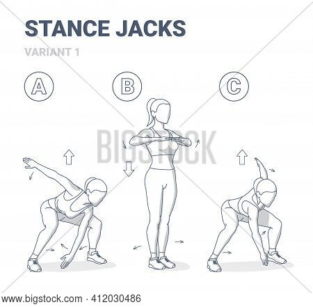 Stance Jacks Women Home Workout Exercise For Health And Boosting Metabolism Guidance Illustration.