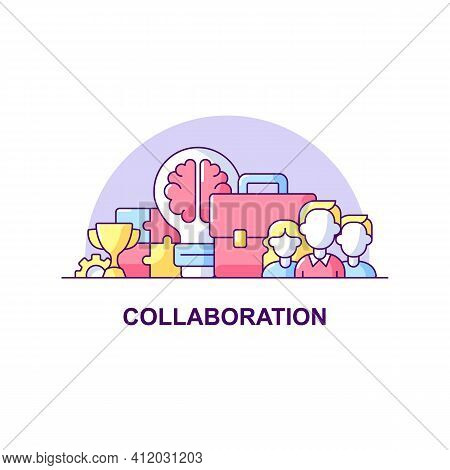 Collaboration Creative Ui Concept Icon. Business Cooperation Abstract Illustration. Teamwork Concept