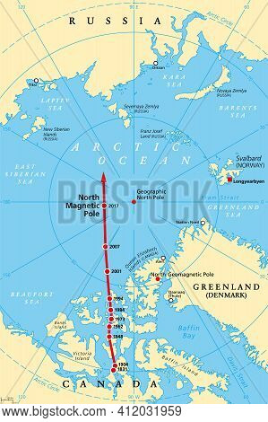 Magnetic North Pole Drift, Political Map. The North Magnetic Pole Of Earth Moves Over Time, Accordin