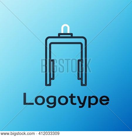 Line Metal Detector In Airport Icon Isolated On Blue Background. Airport Security Guard On Metal Det