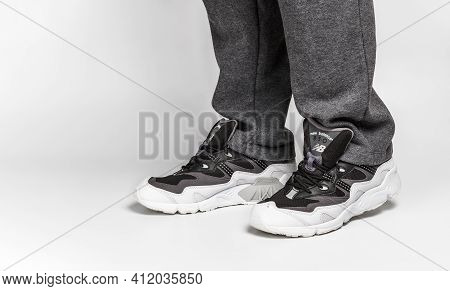 Kiev, Ukraine - January 03, 2021: Men's Casual Sneakers From The New Balance Brand On A Light Backgr