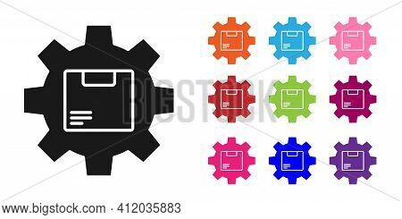 Black Gear Wheel With Package Box Icon Isolated On White Background. Box, Package, Parcel Sign. Deli