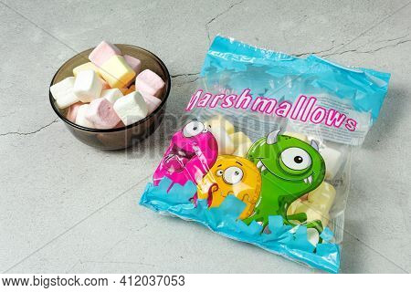Marshmallow In A Pack, Write Marshmallow, The Word Marshmallow, Marshmallow In A Dark Bowl, On A Lig
