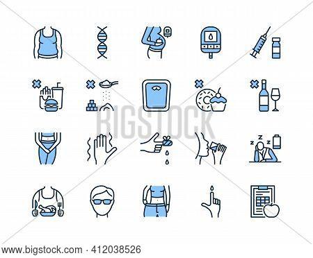 Diabetes Flat Line Icon Set Blue Color. Vector Illustration Diabetes Symptoms And What Is Forbidden